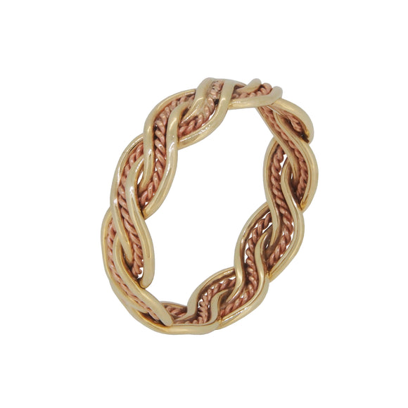 A modern, 9ct yellow & rose gold, twist band ring
