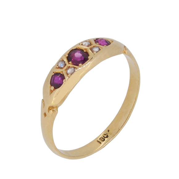 An early 20th century, 18ct yellow gold, ruby & diamond set, seven stone Gypsy ring
