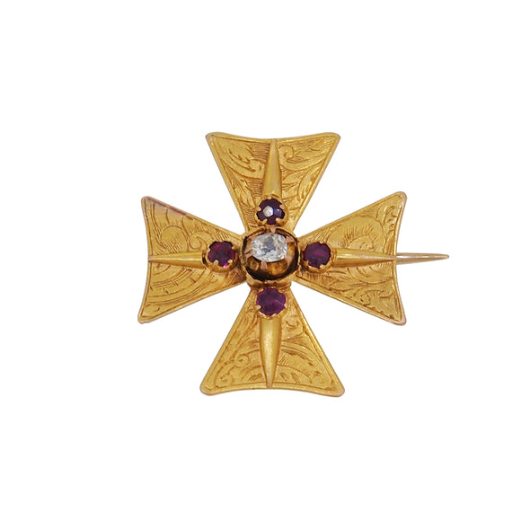 An early 20th century, yellow gold, ruby & diamond set Maltese Cross Brooch