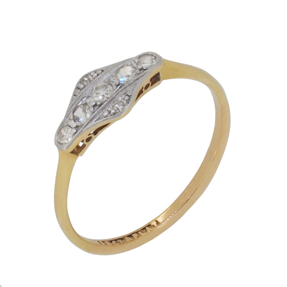 An early 20th century, 18ct yellow gold & platinum, Art Deco Style, diamond set, lozenge style cluster ring