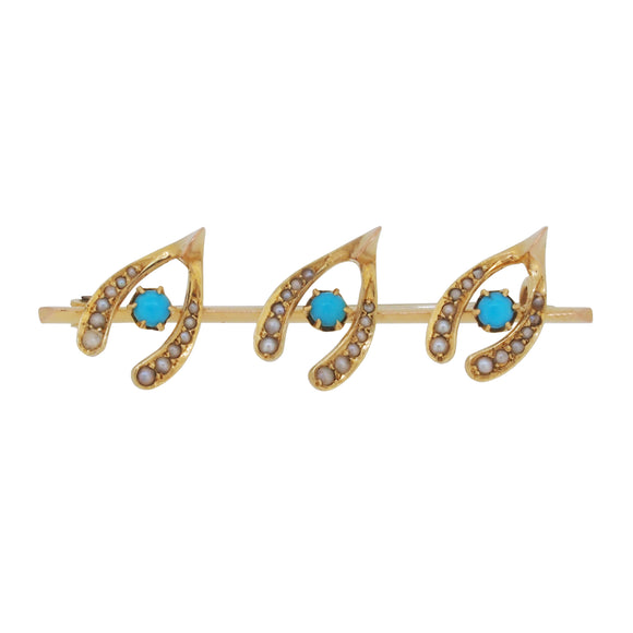 An Edwardian, yellow gold, turquoise & pearl set, three wishbone bar brooch