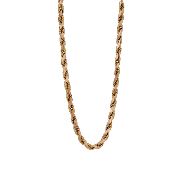 A modern, 9ct yellow gold, fancy rope chain