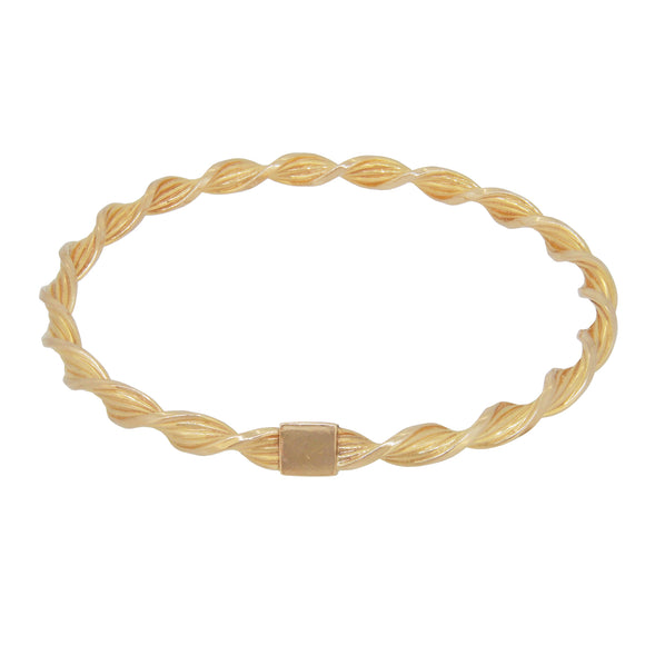 A modern, 9ct yellow gold, twist bangle