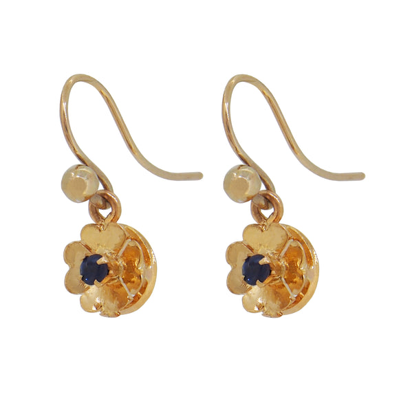 A pair of mid 20th century, yellow gold, sapphire set drop earrings