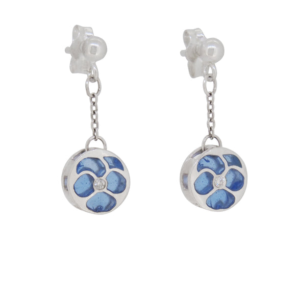 A pair of modern, silver, white sapphire & plique-à-jour blue enamel set drop earrings