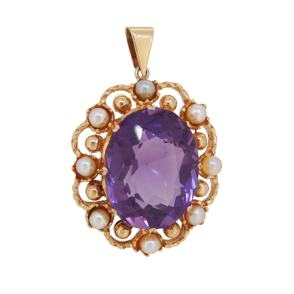 A mid 20th century, 9ct yellow gold, amethyst & pearl set pendant