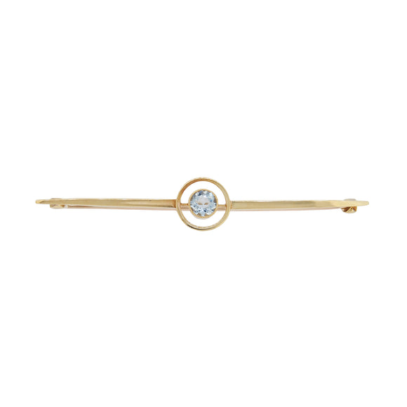 An Edwardian, 15ct yellow gold, aquamarine set bar brooch