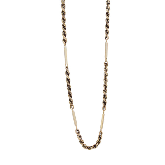 A modern, 9ct yellow gold, rope & bar chain