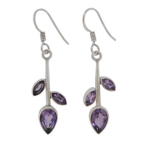 A pair of modern, silver, amethyst set drop earrings