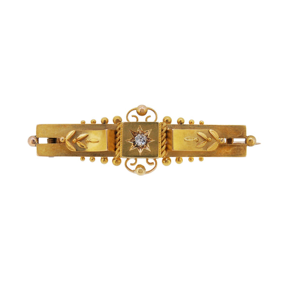 A Victorian, 15ct yellow gold, diamond set brooch