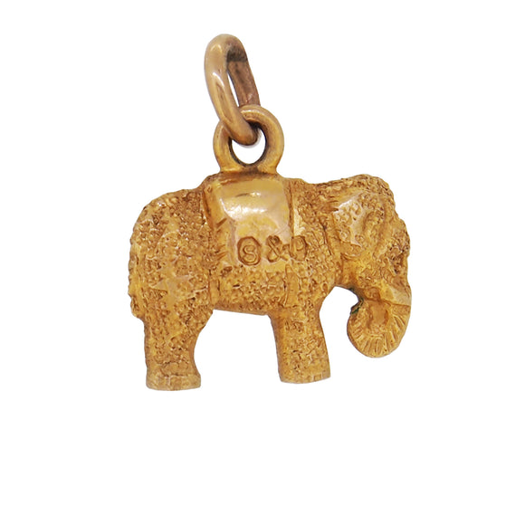 A mid 20th century, yellow gold, elephant charm pendant