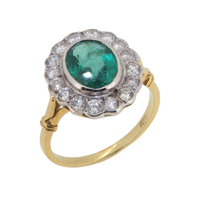 A mid 20th century, 18ct yellow gold, emerald & diamond set cluster ring