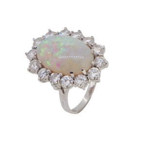A modern, 18ct white gold, opal & diamond set cluster ring