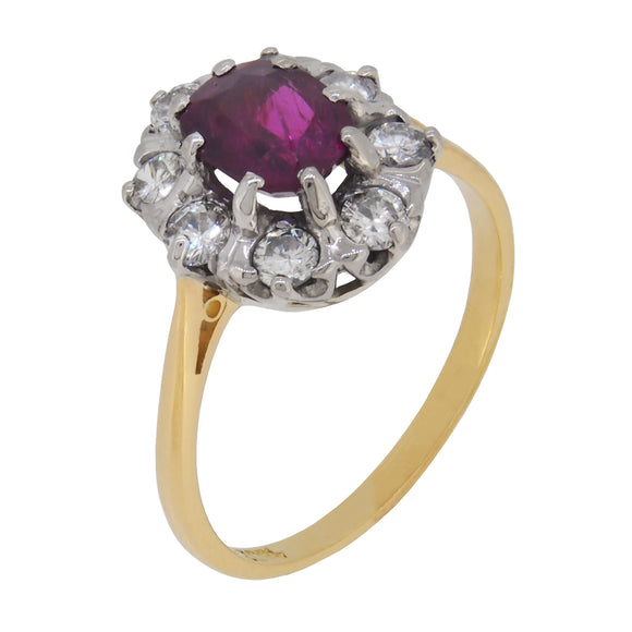 A mid 20th century, 18ct yellow gold, ruby & diamond set cluster ring