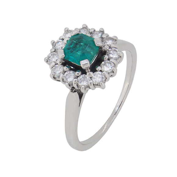 A mid 20th century, 18ct white gold, emerald & diamond set cluster ring