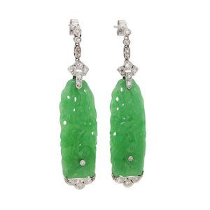 A pair of early 20th century, Art Deco style, jade & diamond set drop earrings