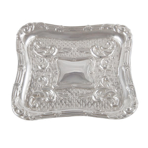 An Edwardian, silver, square, embossed pin tray