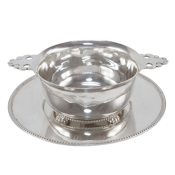 An Edwardian, heavy silver porringer & tray