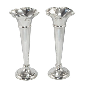 A pair of early 20th century, silver vases