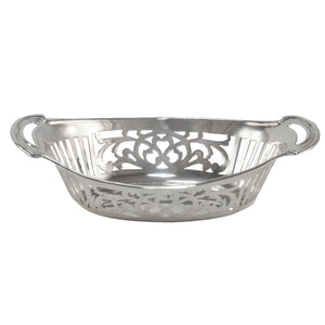 An early 20th century, silver, oval sweet dish with two handles