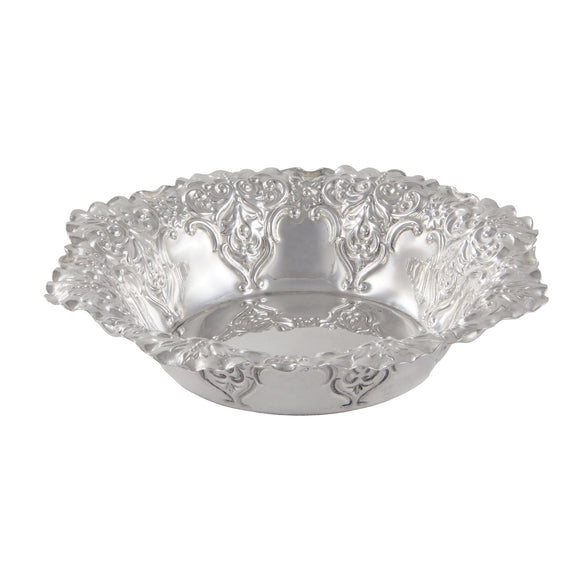 A Victorian, silver, circular, embossed sweet dish
