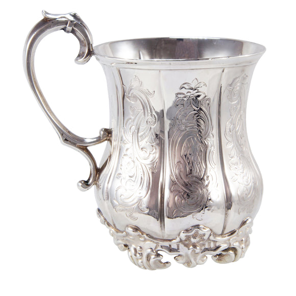 An early 20th century, silver one pint tankard