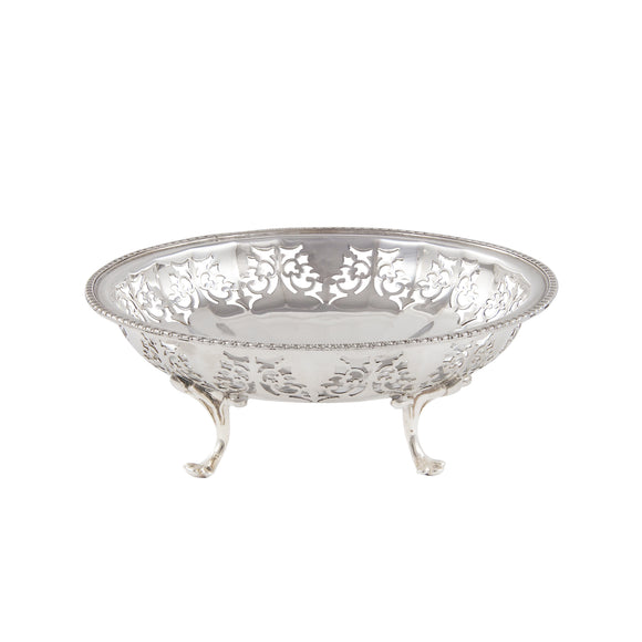A mid 20th century, silver, circular Bon Bon dish on three feet