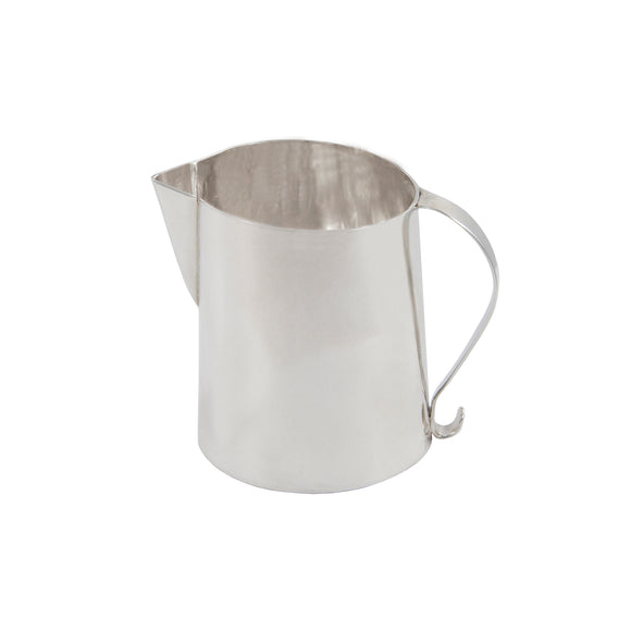 A modern, silver, small cream jug