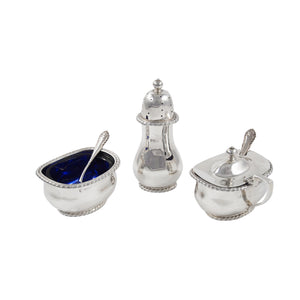 An early 20th century, silver, three piece cruet