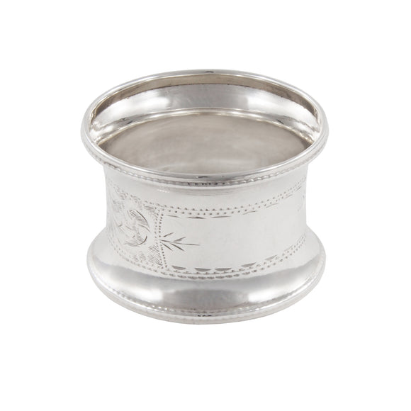 An early 20th century, silver, engraved napkin ring