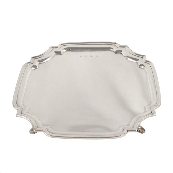 A mid 20th century, silver, square salver on four feet