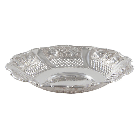 A Victorian, silver, circular, pierced & embossed dish