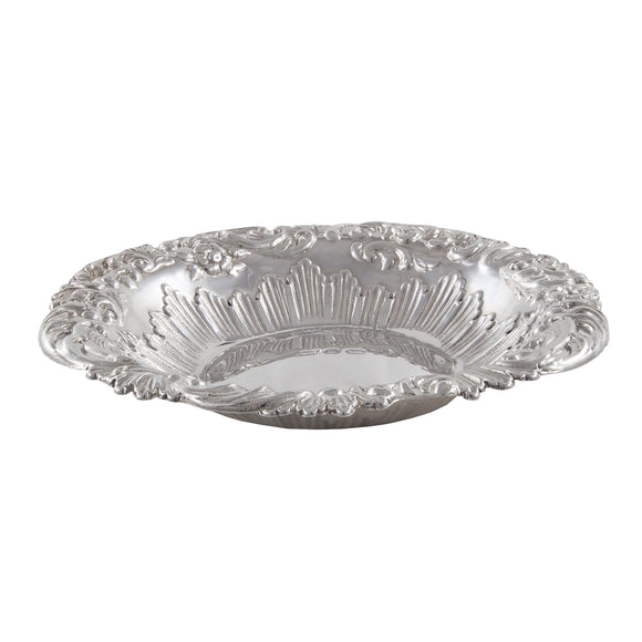 A Victorian, silver, circular, embossed dish