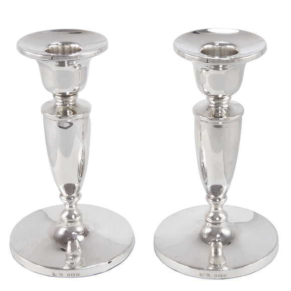 A pair of mid 20th century, silver candlesticks