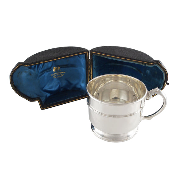 A Victorian, silver, child's cup & fitted case
