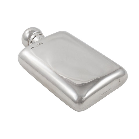A Victorian, silver, large hip flask