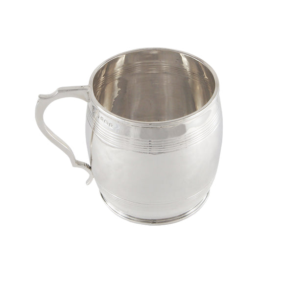 A mid 20th century, silver, child's barrel shaped cup