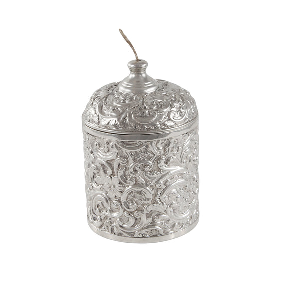 A Victorian, silver, embossed string box