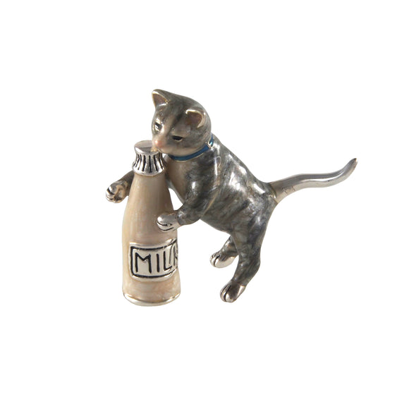A modern, silver & enamel model of a cat & milk bottle