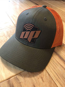 Dark Green W/Orange Mesh Leather OP Logo