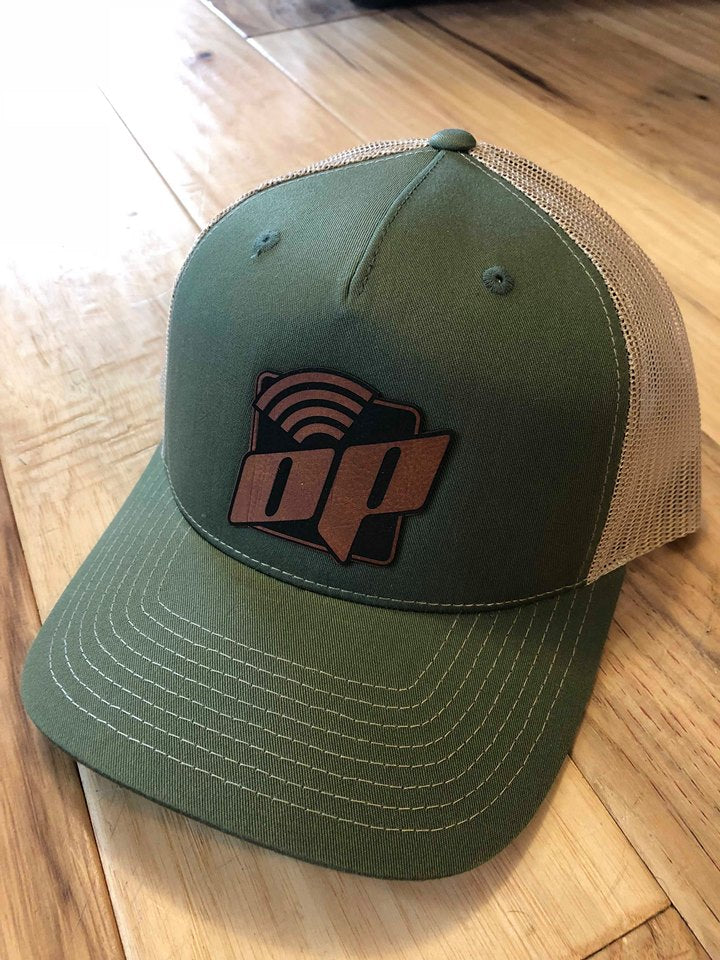 Green W/Light Tan Mesh & Leather Op Logo