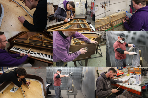 Our piano technicians restoring pianos in our piano workshop