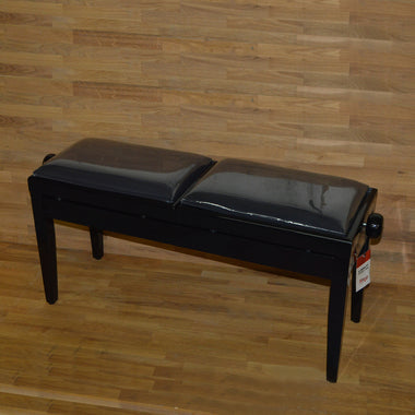 Black Polish Black Velvet Double Piano Bench