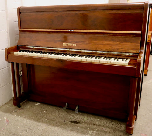 Art Deco Musington Upright piano in oyster mahogany cabinet