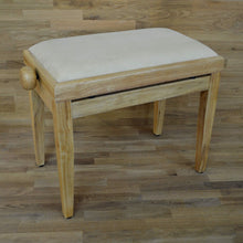 Load image into Gallery viewer, Natural wood and beige velvet piano stool