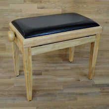 Load image into Gallery viewer, Natural wood and black leather piano stool
