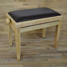 Load image into Gallery viewer, Natural wood and brown leather piano stool