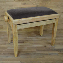 Load image into Gallery viewer, Natural wood and brown velvet piano stool