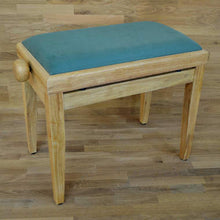 Load image into Gallery viewer, Natural wood and green velvet piano stool