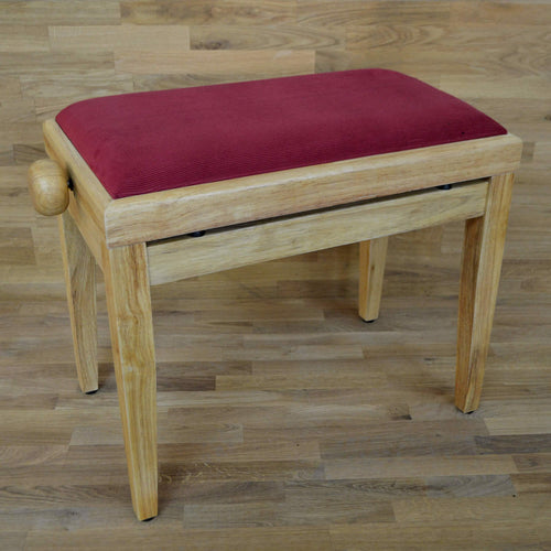 Natural wood and red wine velvet piano stool